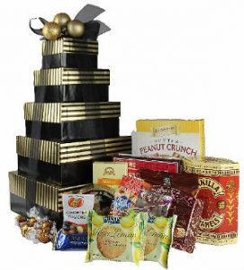 Gold Stripes Gift Tower