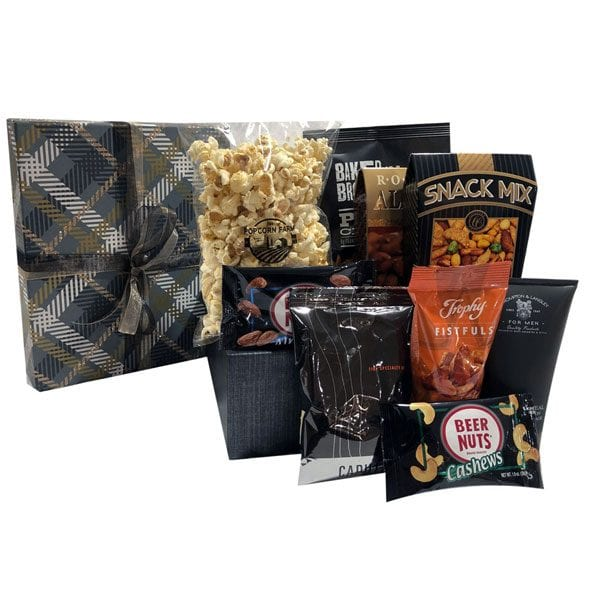 For-Him-Only-filled with nuts, snack mix, popcorn, post shave lotion, coffee and more!