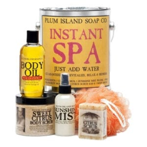 Instant Spa Gift Basket with body scrub, body oil, soap, scrubby and mist refresher