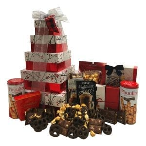 Christmas Berries Gift Tower filled with fudge, caramels, chocolate pretzels, cookies, almond roca, peanut brittle, chocolate almond bark and more!