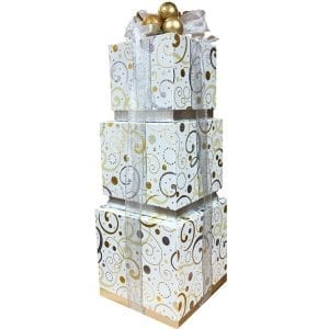 Exquisite Swirls Gift Boxes with an assortment of Lindt truffles, smoked salmon, fruit spread, pretzels and mustard to name a few.