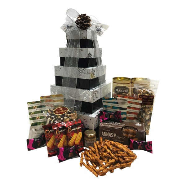 Ultimate Gift Tower filled with truffles, nuts, pretzels, dipping mustard, cookies, brittle, shortbread and more!