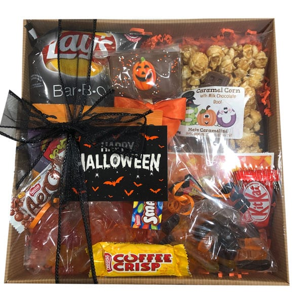 Halloween Fun Gift Pak filled Monster Mash jelly beans, gummie worms, candy corn, chocolate, chips and more.