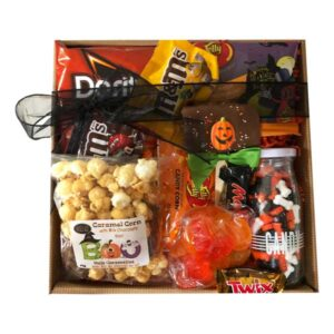 Halloween Fun Gift Pak filled Monster Mash jelly beans, gummies, candy corn, chocolate, chips and more.