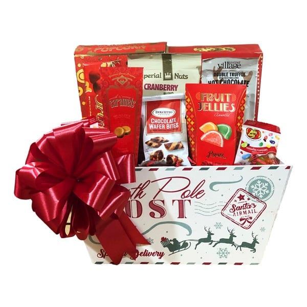 Letters To The North Pole filled with cookies, fruit jellies hot chocolate, caramels, candy and snacks