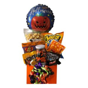 """Spooktacular Gift Basket filled with Jelly Belly Candy Corn, Monster Mix jelly beans, Caramel """"Boo"""" popcorn, Halloween pencil, eraser, candies, chips and more!"""