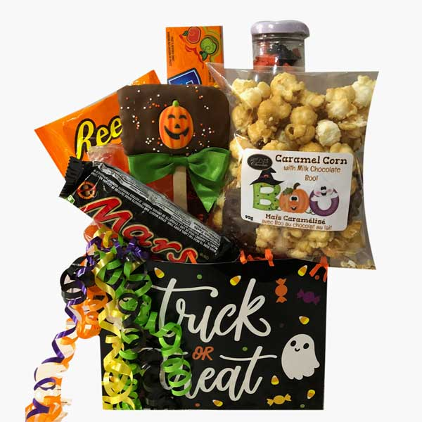 Trick Or Treat Gift Basket with gummies, chocolate caramel corn, candies, chocolate bars and chocolate drenched crispy pop