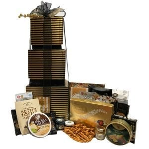 Elegant Stripes Gourmet Gift Basket