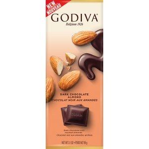 Godiva Dark Chocolate Almond Tablet Bar 90g-3.1 oz