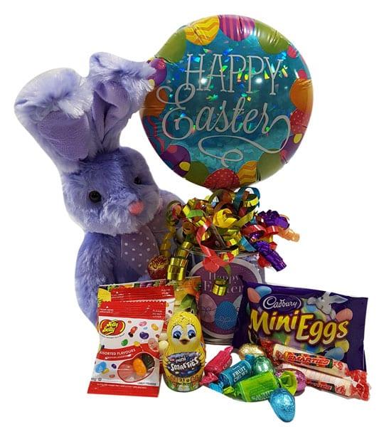 Easter Sparkle-with Cadbury mini eggs, Smarties mini, fruit Tootsie Rolls, chocolate Easter eggs, Chuppa Cups lollipop, Rockets, balloon and plush bunny.