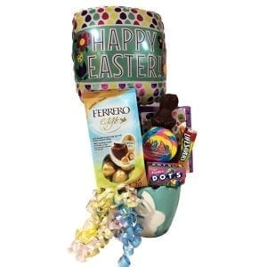 Eggsactly Easter Gift Bsket filled with Peeps, Ferrero eggs, Jelly Belly jelly beans, Dots jujubes, Lifesavers and a solild chocolate bunny.