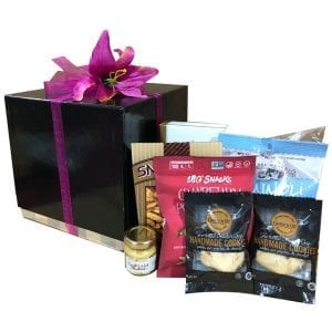 Elegant Tastes Gift Box filled with shortbread, cannoli chips, pistachios, pretzels, caramel corn, cranberry snack mix and more