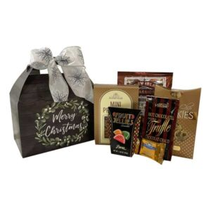 Merry Christmas Gift Tote-filled with gourmet snacks and treats