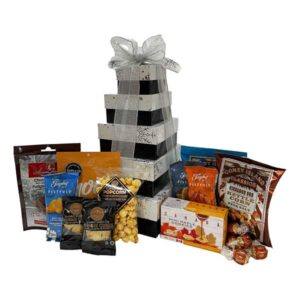 Ultimate Gift Tower filled with truffles, nuts, fudge, shortbread and more!