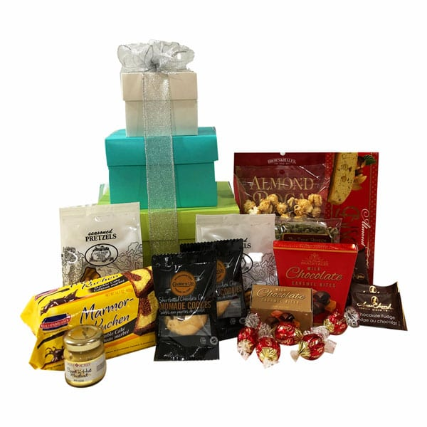 Tower Of Treats Gift Box Gift with almond roca, cake, chocolate pecan popcorn, biscotti, fudge and more