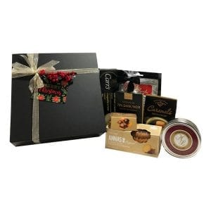Christmas Indulgence-filled with chocolates, cookies, cheese, crackers, caramels and fudge