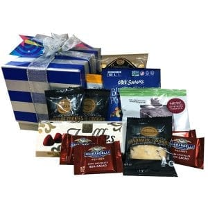 Goodies Gift Box-filled with shortbread, cookies, caramel corn, chocolate, blueberry snack mix and more.