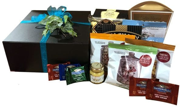 Lux Gift Box-filled with cookies, chocolates, French truffles, pretzels, dipping mustard, caramel corn and cannoli.