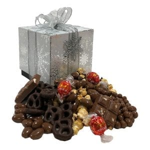 Premium Snowflake-with Lindt truffles, chocolate almonds, chcocolate drenched caramel corn, chocolate bark, chocolate pretzels and more!