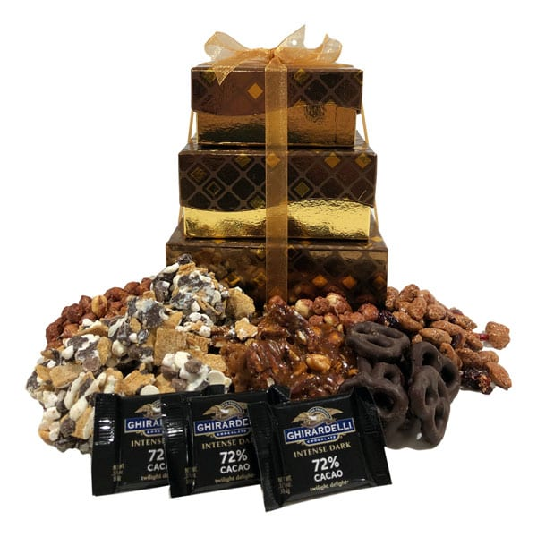 Sweet Treats-filled with Ghirardelli candied nuts, smores snack mix, chocolate pretzels and lots of goodies!