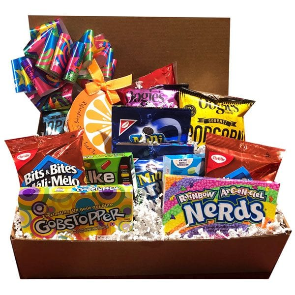 Candy Box Sensation-filled with theater sized candies, assorted popcorns , fruity ice tea, cookies, and snacks.