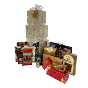 Exquisite Swirls Gift Boxes with an assortment of Lindt truffles, smoked salmon, fudge, pretzels,candy, appetizer crackers and mustard to name a few.