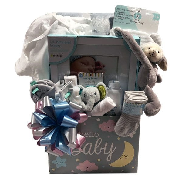 Starlight and Moonbeams Baby Basket-filled with a plush reversible blanket, Gerber onsie, Id bracelet picture frame, Johnson & Johnson, hat, mitt and booties set, plush toy, baby socks and face cloths