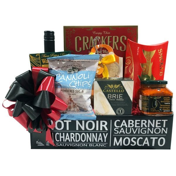 Wine and Cheese Gift Basket-filled with wine, smoked salmon, crackers, bruschetta, brie cheese, crackers, cannoli chips and cheese dip