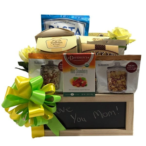 Love You Mom Gift Basket filled with candies, pretzels, chocolates, cookies and treats she will LOVE.