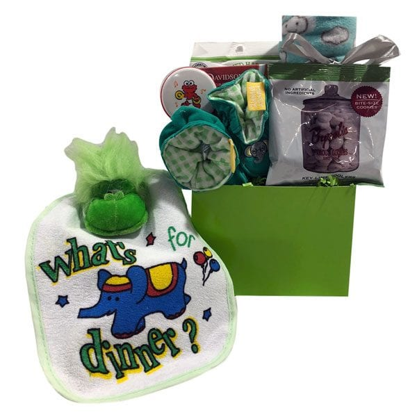 Apple Of My Eye Baby Gift Basket-includes bib, plush toy, slippers, fleece blanket, rattle, key lime cookies, herbal tea and green apple candies for mom and dad.