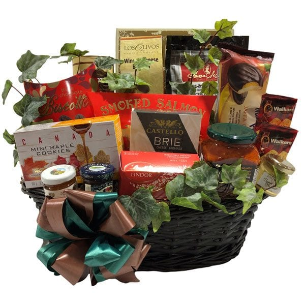 Perfection Gift Basket-the perfect gift basket filled with gourmet and gourmet snack fare in a beautiful weaved basket