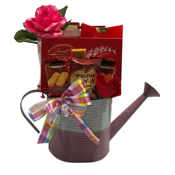 Raindrops Gift Basket-filled with candies, chocolate, shortbread and snacks in a metal watering can planter.