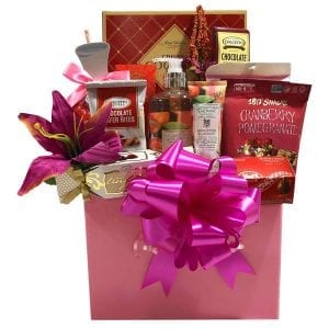 Rejuvenate gift basket filled with bath (spa), gift items as well as delicious gourmet snacks.