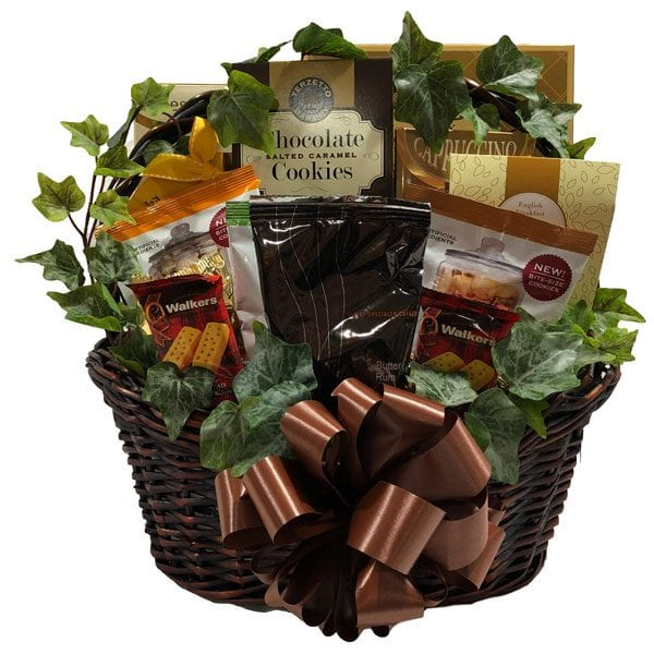 Specialty Cafe Gift Basket for the coffee, tea and cafe visitor. Filled with their favorites.