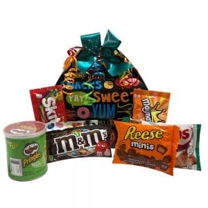 Snack Attack Gift Pak-filled with M&M's, Reese's Peanut Butter Cups, Comobs, Pringles, Skittles and More.