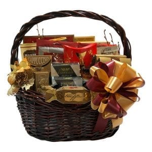 Christmas Gift Of Distinction-filled with cookies, smoked salmon, crackers, cheese, fudge, hot chocolate and more.