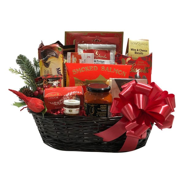 Christmas Perfection Gift Basket-the perfect gift basket filled with gourmet and gourmet snack fare in a beautiful weaved basket and Christmas accents