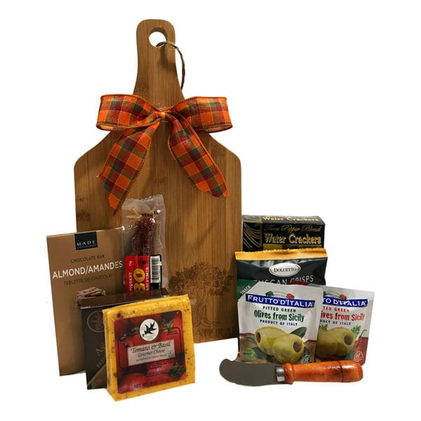 Charcuterie Board Gift-filled with cheeses, meats, chocolates, olives and crackers