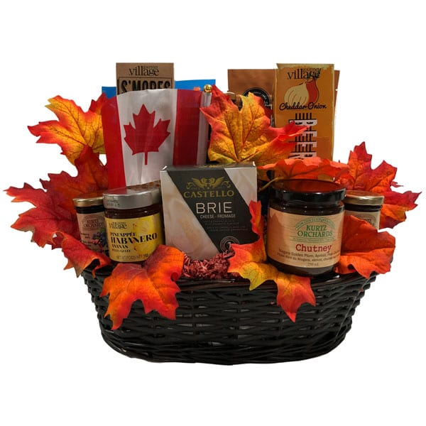Fruit Of The Land-Gift basket filled with Canadian made products in a beautiful presentation