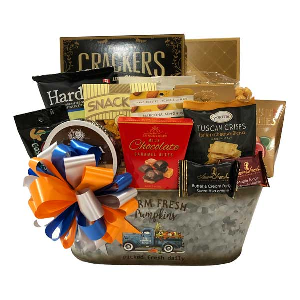 Farm Fresh Gift Basket filled with chocolates, caramels, crackers, cookies, cheese, Tuscan crisps, fudge, nuts, snack mix and more