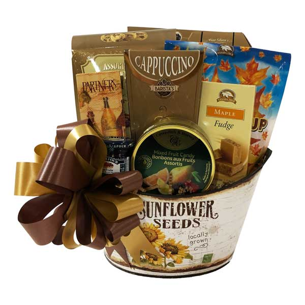 Locally Grown Gift Basket filled with maple candies, crackers, biscotti, cookies, fudge, cappuccino, fruit spread, old fashioned candies