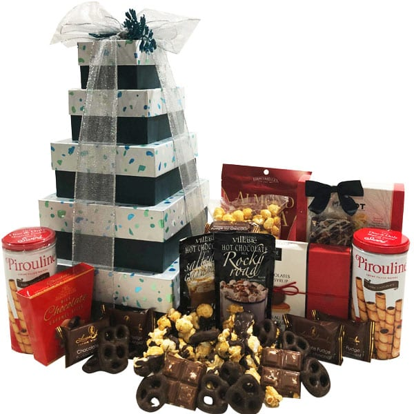 Mosaic Gift Tower filled with fudge, caramels, chocolate pretzels, cookies, almond roca, peanut brittle, chocolate almond bark and more!