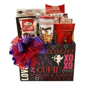 Chocolate Lovers Gift Basket-filled with premium chocolates and chocolate food items.