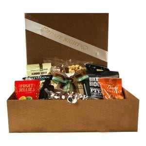 Date Night gift box filled with great snacks to enjoy during an at home date night.