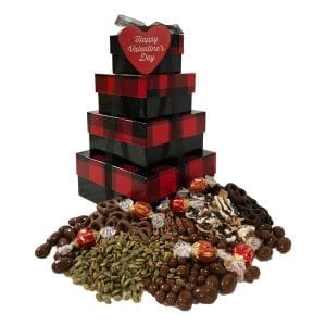 Valentine Chocolate Decadence Tower-filled with premium, decadent chocolates they will love!