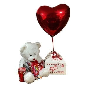 Deluxe Valentine Delivery-with chocolate, candy, a large teddy bear and heart balloon