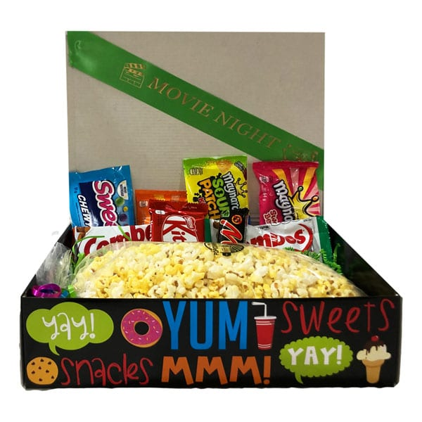 Movie Night filled with candy, chips and chocolates, enough to share. Just add the movie!