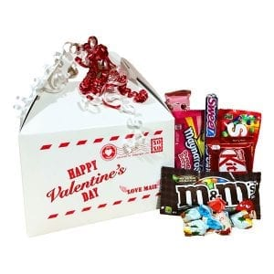 Valentine Delivery with chocolates and candy in a Valentine Gift Box