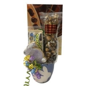 Bunny Silhouette Easter Gift Basket with chocolates, eggies, bunny cookie and more