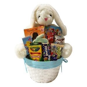 Bunnies-Bunnies-Everywhere-Boy with giant bunny, crayons, activity book, chocolates, hand decorated cookie and more!